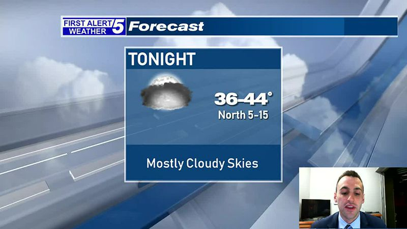 Increasing Clouds Tonight, Mostly Cloudy Skies Tomorrow