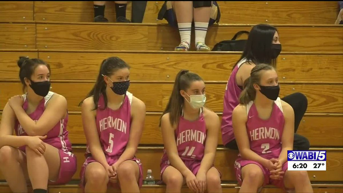 Hermon girls come back to beat Orono, wear Cancer awareness uniforms