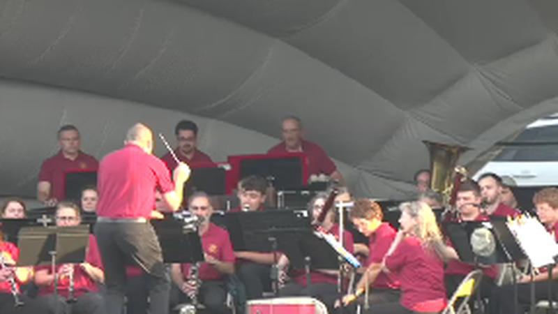 Members of the Bangor Band play on at the Bangor Waterfront.