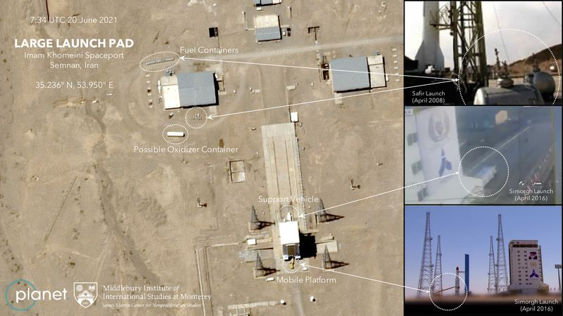 This satellite image provided by Planet Labs Inc. that has been annotated by experts at the...