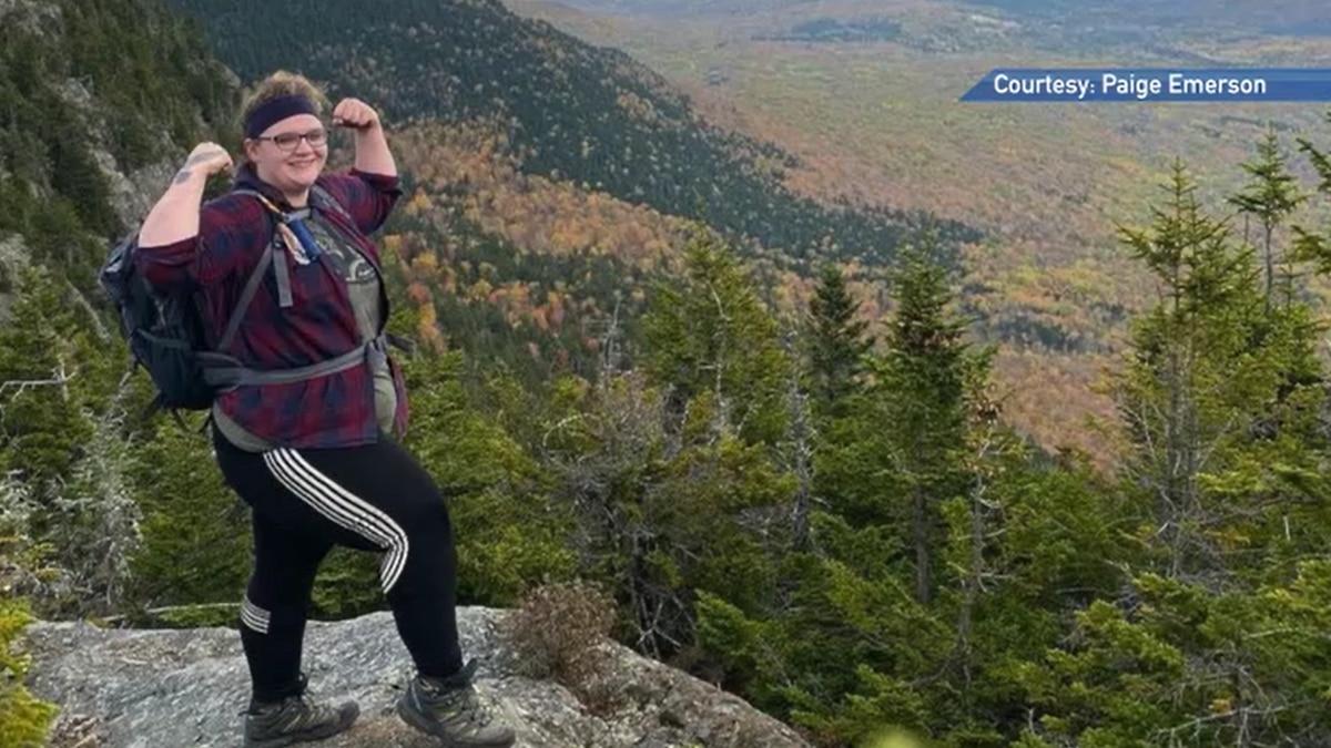 Paige Emerson climbs Tumbledown Mountain.